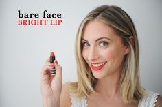 how to master the bare face, bright lip look