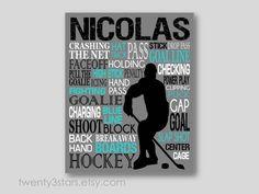 Hockey Typography Art | Grey