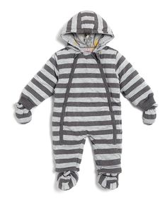 Another great find on #zulily! Lucy & Sam Charcoal & Gray Stripe Monkey Bunting - Infant by Lucy & Sam #zulilyfinds