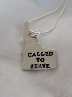 LDS Mormon Missionary Hand Stamped Called to Serve in Idaho Necklace  #templestamping