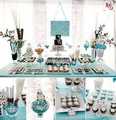blue dessert table at I Do in Style Show