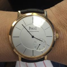 Piaget #Altiplano #watch. Case rose #gold. #Sapphire crystal case back. Manufacture Piaget 1208P #ultrathin automatic mechanical #movement with small seconds, the thinnest in the world (2.35 mm thick).