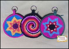 crochet coin purse w/ keyring idea - no pattern