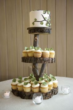 I really do love the creative items being made with tree slabs!  This is such a creative cupcake stand!