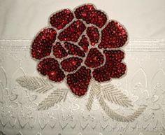 sequin rose | Sequin Beaded Applique Rose