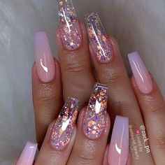 [New] The 10 Best Nail Ideas Today (with Pictures) - Gold dust & purple pink om. - (New) The 10 Best Nail Ideas Today (with Pictures) – Gold dust & purple pink om… - Clear Acrylic Nails, Acrylic Nails Coffin Short, Almond Acrylic Nails, Summer Acrylic Nails, Acrylic Nail Designs, Coffin Nails, Summer Nails, Clear Nails With Glitter, Clear Nails With Design