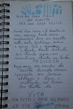 My mother's recipe for a happy home Mother Recipe, Italian Quotes, First Page, Happy Mothers Day, Thoughts, Writing, Learning, Recipes, Keto