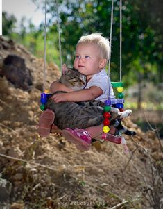 Infant and cat