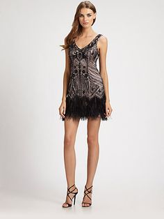 Ga Ga over Gatsby? This dress would be right up your alley!    Sue Wong - Feather-Trimmed Beaded Dress - Saks.com