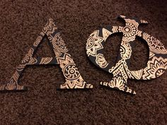 Alpha phi letters! Acrylic paint and paint pen magic! #alphaphi