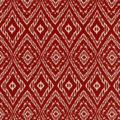 Red and White Ikat Upholstery Fabric for Furniture - Bright Red Ikat Cotton Curtain Panels - Ikat Roman Shade Material - Red Ikat Pillows Fabric Blinds, Fabric Rug, Chair Fabric, Upholstery Fabrics, Wood Frame Couch, Front Room Design, Small Craft Rooms, Bohemian Pattern, Robert Allen Fabric