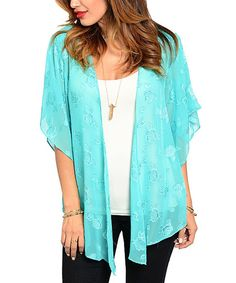 Look at this Mint Sheer Floral Cardigan on #zulily today!