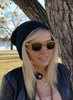 Zebra wood sunglasses in Flourish Black. One tree planted for each sale! www.thriveshades.com