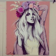 Croquis Fashion, Fashion Sketches, Illustration Sketches, Illustration Artists, Creative Pictures, Pink Art, Mellow Yellow, Woman Painting, Art Girl