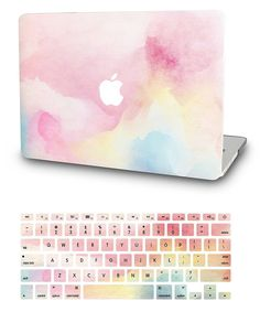 KECC Laptop Case for MacBook Air w/Keyboard Cover Plastic Hard Shell Case 2 in 1 Bundle (Rainbow Mist)