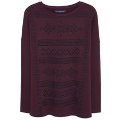 Violeta by Mango Embroidered Sweatshirt, Dark Red (1.075 CZK) ❤ liked on Polyvore featuring tops, hoodies, sweatshirts, long sleeve tops, purple sweatshirt, print top, long sleeve cotton tops and loose fitting tops