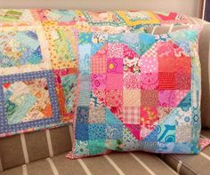 Scrappy Quilt Heart Pillow | by Dee'sDoodles