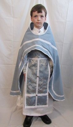 Child's Five Piece Orthodox Priest Vestment Play Set - Phelonion, Epitrachelion, Belt, Cuffs, Sticharion  - Blue and White