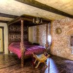 The medieval master bedroom is shown here fully restored. You can see the original 15th century window seat on the left. Back to Medieval Bedrooms Page