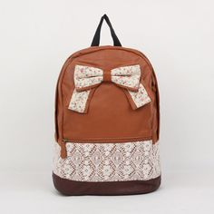 Women Lace Backpack Bag Schoolbag Tote Handbag Campus Bookbag Bow Cute B13