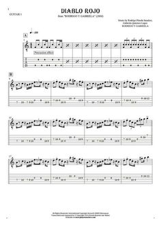 Diablo Rojo - Rodrigo y Gabriela. From album Rodrigo y Gabriela (2006). Part: Notes and tablature for guitar - guitar 1 part