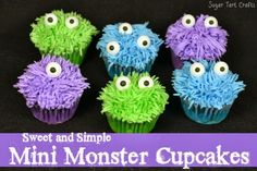 Sugar Tart Crafts: Sweet and Simple Mini Monster Cupcakes