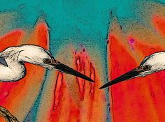 Twin Herons Art Purple Turquoise Red Blue Folk by GrayWolfGallery