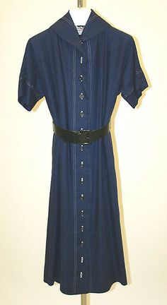 Dress, Claire McCardell (American, 1905–1958), linen, leather, American