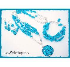 Set bijuterii handmade turcoaz