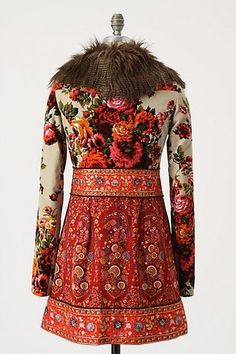 Anthropologie 2 Karelia Russian Tapestry Velvet Fur Jacket Coat Dress | eBay