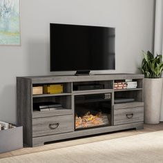 Electric Fireplace TV Console with Adjustable Heat & Light by Northwest - 62 x 16 x 28