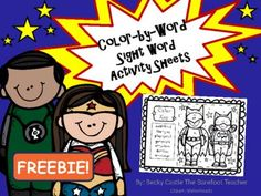 Superhero Color-by-Sight Words Activity Sheet FREEBIE from The Barefoot Teacher on TeachersNotebook.com -  (6 pages)  - Superhero theme reading, sight words.