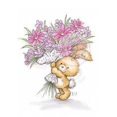 tampon dessin lapin et bouquet de fleur. wild rose studio