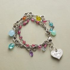 """JOYFUL LIFE BRACELET--Jes MaHarry urges us to always treasure life's joy with her sterling silver bracelet and its myriad of gems—apatite, carnelian, aquamarine, pink and yellow tourmaline, chrysoprase and amethyst. Sterling silver clasp. USA. Exclusive. 7"""" to 8""""L."""