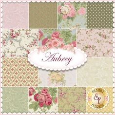 Aubrey 14 FQ Set by Skipping Stones Studios for Clothworks Fabrics: Aubrey is a floral fabric collection by Skipping Stones Studio for Clothworks Fabrics. 100% Cotton. This set contains 14 fat quarters, each measuring approximately 18