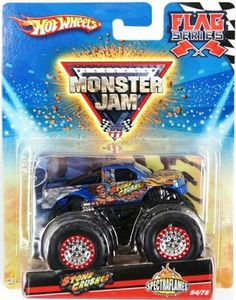 2010 Hot Wheels Monster Jam #54/75 *Spectraflames* STONE CRUSHER Flag Series 1:64 Scale Collectible Truck by Mattel. $17.99. 1:64 Scale (Small Truck). Die-Cast. 2010 Production Year. Official Monster Jam Truck. Flag Included. Crush the Competition with this 1:64 scale Hot Wheels truck! Die cast body and chassis mega monster tires & 4-wheel turning action. Let the dirt fly with these ground-poundin Hot Wheels Monster Trucks. Rev up for total domination and destruction on the ...