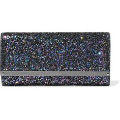 Jimmy Choo Milla glittered leather clutch ($800) ❤ liked on Polyvore featuring bags, handbags, clutches, navy, colorful clutches, real leather handbags, leather purses, navy blue handbags and navy leather handbag