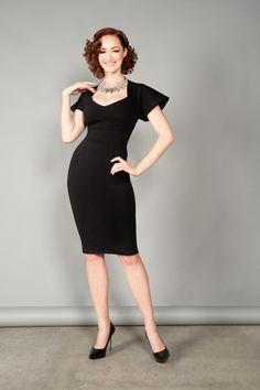 Pinup Couture Venus Dress in Black Ponte