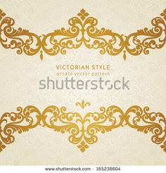 Vector seamless border in Victorian style. Element for design. You can place the text in an empty frame. It can be used for decorating of invitations, greeting cards, decoration for bags and clothes.