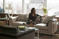 """""""Suits"""" Jessica takes a moment in her office. Corporate Office Design, Corporate Style, Home Office Setup, Office Decor, Corner Office, Lamp Design, Sofa Design, Web Design, Jessica Pearson"""