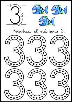 lectoescritura de numeros el 3 ficha 3