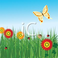 iCLIPART - Spring background with flowers and butterfly