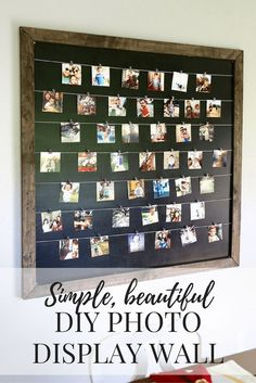 Gorgeous, simple, and easy DIY photo display Diy Home Decor Rustic, Homemade Home Decor, Homemade Gifts, Decor Diy, Diy Photo, Cadre Diy, Display Family Photos, Photo Display Board, Family Pictures