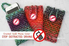 Crochet Cell Phone Cover: A Reminder to Never Talk, Text, and Drive! - Repeat Crafter Me
