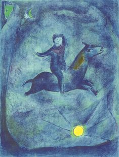 Mounting the ebony horse..., 1948 by Marc Chagall. Naïve Art (Primitivism). illustration