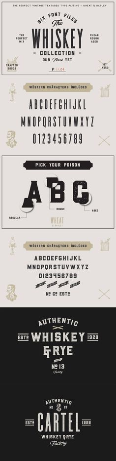 The #Whiskey #Font Collection - I must buy this font. It would be perfect for signs and stuff I design at home.