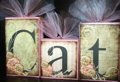 Shabby Chic Distressed Name Blocks  Caton Collection- These turned out so cute!! Love this style...