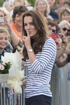Catherine, Duchess of Cambridge, aka Kate Middleton, in the Auckland Harbour where she raced Prince William in Emirates Team New Zealand Americas Cup yachts; she won both races! She is wearing Zara jeans, a Breton top by ME+EM, and her Sebago Balas loafers. 4/11/14
