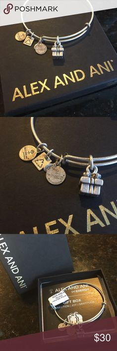 Alex & Ani Gifts bracelet Connection I Joy I Gratitude. Life is for filling days with celebrations, enjoying the smallest happiness, and understanding that very moment is a blessing. Wrap your life in festivity and appreciate the joys of a gift box, for today is the ultimate present. Each charm hangs from Alex & Ani's patented expandable wire bangle in silver finish. New with tags and box! Alex & Ani Jewelry Bracelets