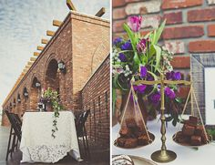 lace table linens + garland + copper and brass details for a purple wedding